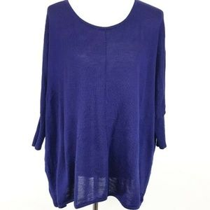 Eileen Fisher Womens Purple Merino Wool Dolman 3/4